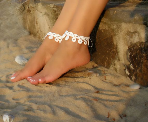 Hey, I found this really awesome Etsy listing at https://www.etsy.com/listing/470192182/white-bridal-crochet-barefoot-sandals