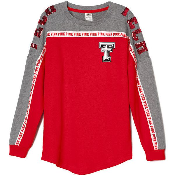PINK Texas Tech University Bling Varsity Crew ($35) ❤ liked on Polyvore featuring tops, t-shirts, white, white graphic t shirt, oversized white tee, graphic t shirts, oversized t shirt and white graphic tees
