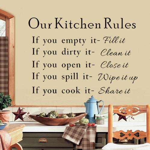 Hot sale our kitchen rules quotes vinyl art wall stickers for Kitchen quotation