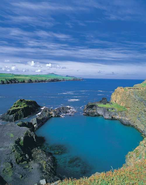 Blue Lagoon, Pembrokeshire, Wales. That is it's real colour.....  so nice to see it in good weather, we went on a grey day, but it still shone turquoise!