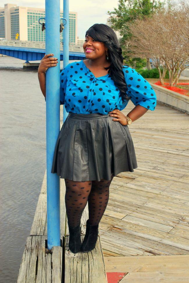 Musings of a Curvy Lady, Polka Dots, Black Friday 2013, Leather Skirt, Plus Size Fashion, Fashion Blogger, Jacksonville, Florida