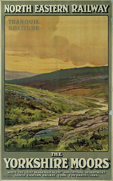 Poster produced for North Eastern Railway to promote rail travel to the. Yorkshire Moors The poster shows a view of the moors which conveys the...17
