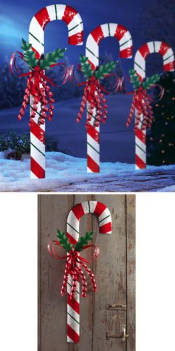 Christmas Outdoor Decorations Candy Canes : One candy cane outdoor holiday topiary stake christmas