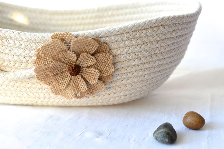 Natural Rope Basket, Minimalist Line Basket, Handmade Rope Basket, Modern Clothesline Basket,  Remote Control Holder by WexfordTreasures on Etsy