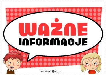 Ważne informacje - tabliczka - Printoteka.pl