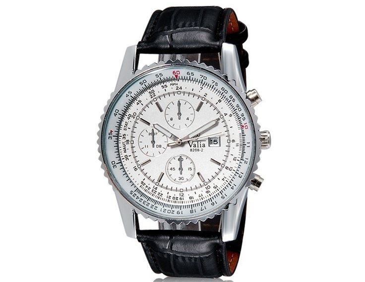 Men Stylish Analog Watch Calendar Display Black Faux Strap Wrist Round Dial Watches $10.12  #eozy