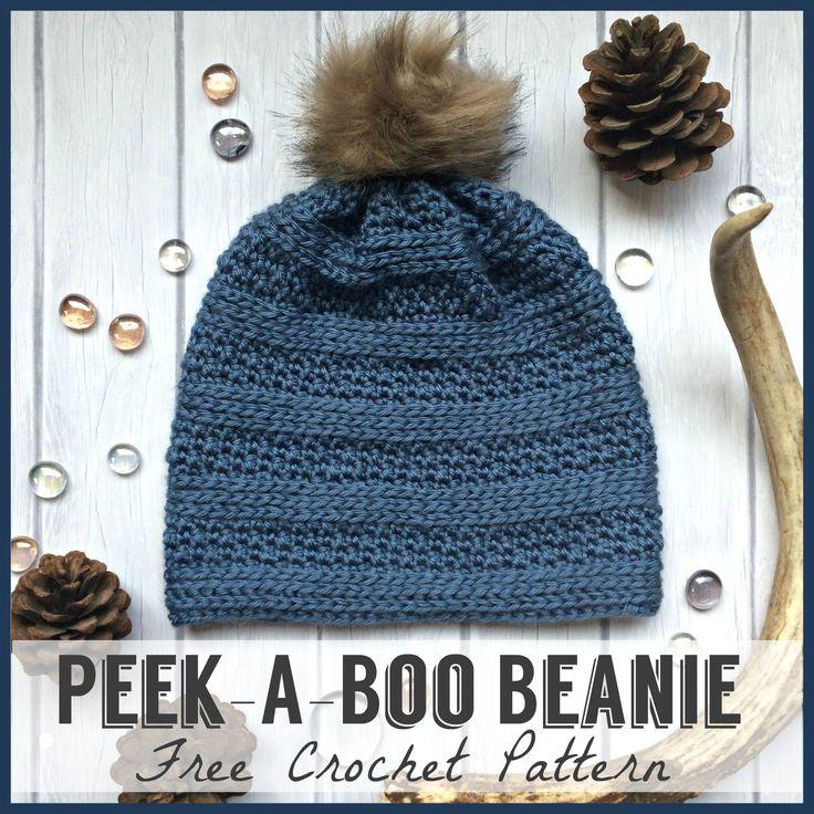 Free Crochet Hat Pattern | Peek-A-Boo Beanie from Cute As A Button Crochet