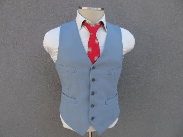 1970s Blue Vest / Vintage Waistcoat Size 40 Medium Med M / Men's Suit Vest / Wedding / Four Pocket Vest / 70s Vtg Vest / Disco Era by BudeVintage on Etsy