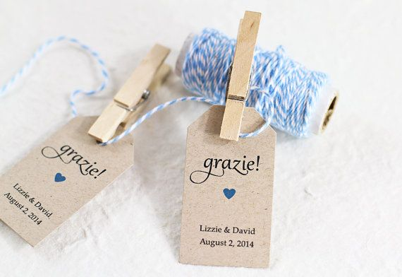 Wedding Favor Tag - Grazie Thank You in Italian, Bridal Shower Favor Tag, Party Favor Tag, Personalized Tag, Gift Tag on Etsy, $11.25