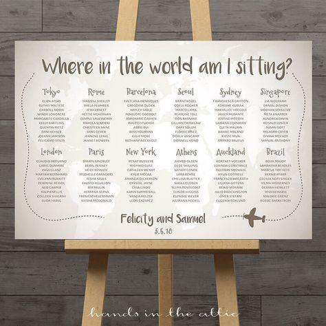 World map wedding seating chart travel theme by HandsInTheAttic