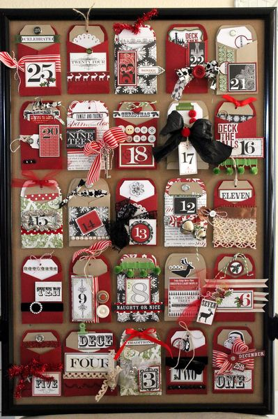 Handmade advent calendar using the Cricut to make pockets and tags, a large frame is re purposed to use as the base of the calendar and can be hung or used on a table top! All Teresa Collins paper, created by Shantaie Fowler