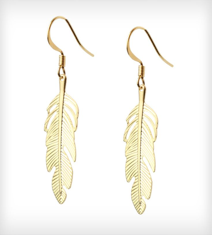 Feather Earrings. These are the kind of feathers you should wear. Not real, plucked from a living being.