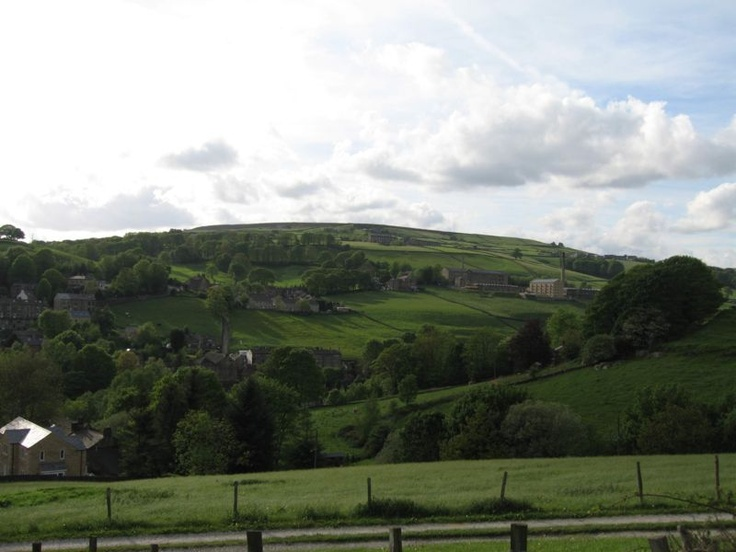 View looking West over Luddenden village showing Oats Royd Mill