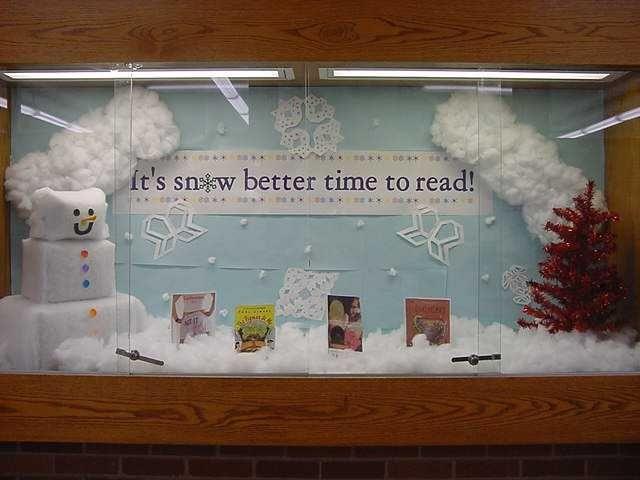 School Library Bulletin Board Ideas | Snow better time to read | High school library bulletin board ideas
