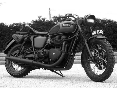 Triumph. By far my most favorite bike I've seen yet. Anyone know anything about it?