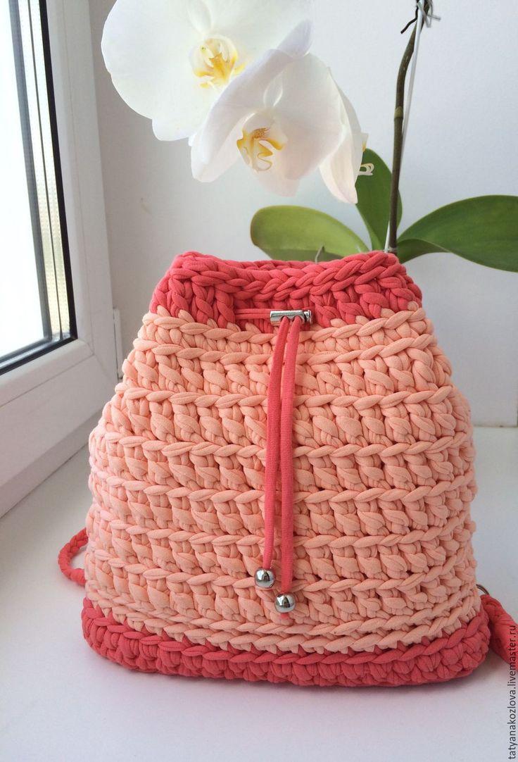 Купить Рюкзачок для девочки из трикотажной пряжи Персик - коралловый, однотонный, рюкзак ручной работы