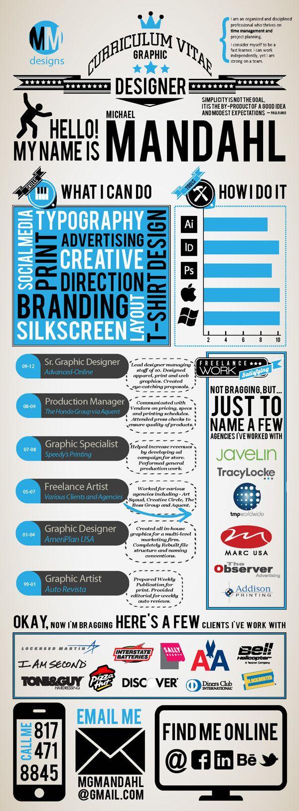 Self Promotion - Infographic Resume by Michael Mandahl, via Behance
