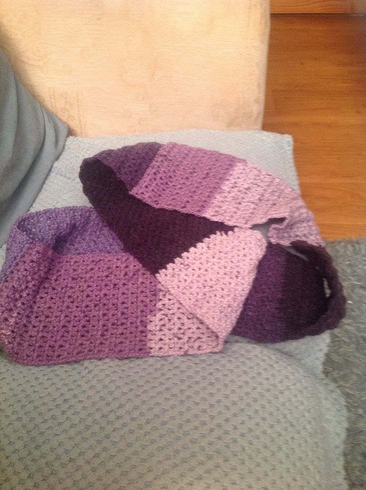 Infinity scarf made using a Caron cake in v stitch