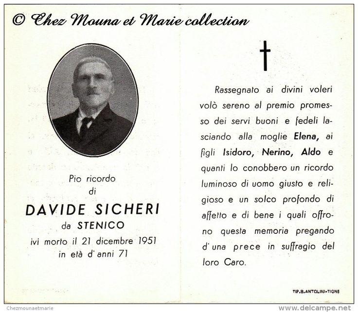 ITALIE - DAVIDE SICHERI - STENICO - MORTE - AVIS DE DECES - Delcampe.net