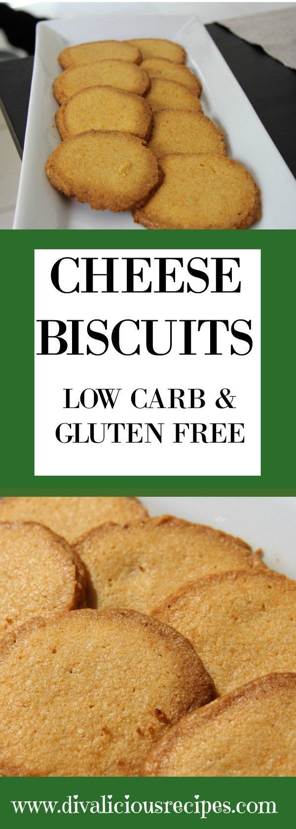 Cheese biscuits that are melt in your mouth savoury biscuits made with almond flour and a good Cheddar cheese. A delicious low carb and gluten free snack.  Recipe - http://divaliciousrecipes.com/2011/11/08/cheese-biscuits-gluten-free/