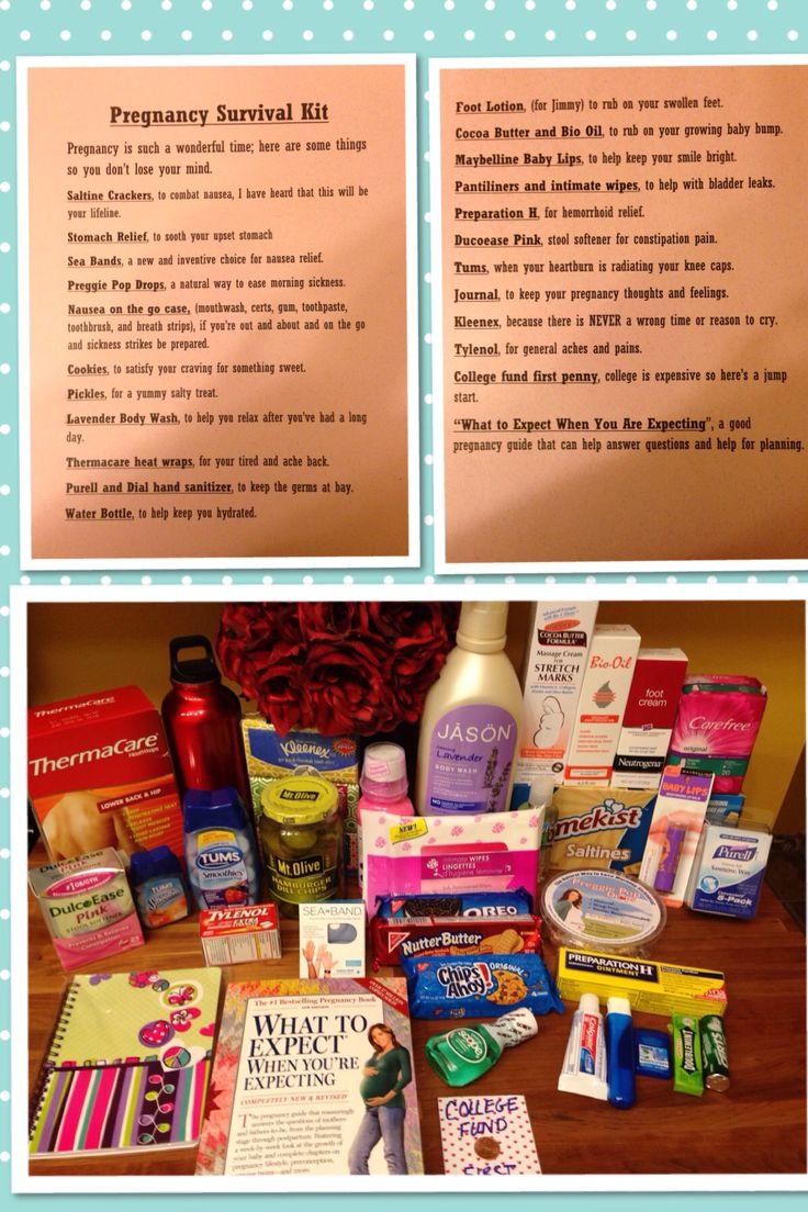 Pregnancy Survival Kit, for a new mom-to-be. :)