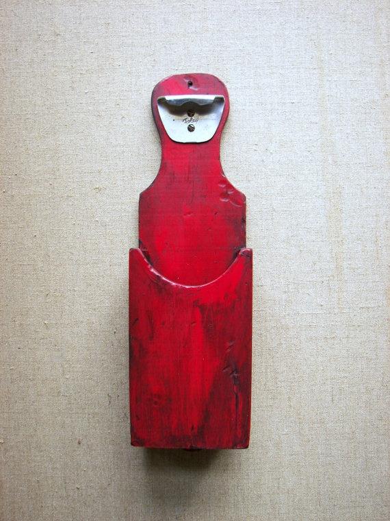 Bottle opener wall or cabinet mount cap bin by for Bottle cap wall