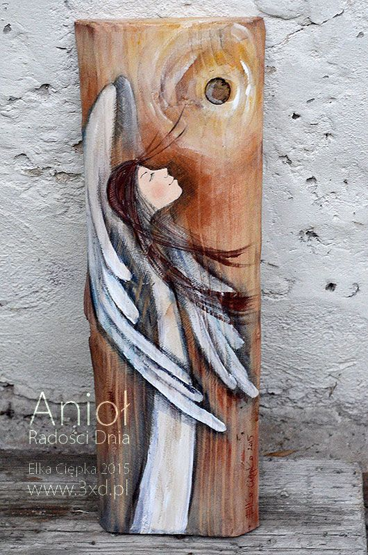 Anioł Radości Dnia | Anioł malowany na drewnie | http://www.3xd.pl/sklep/anioly/aniol-radosci-dnia/ | Elka Ciępka