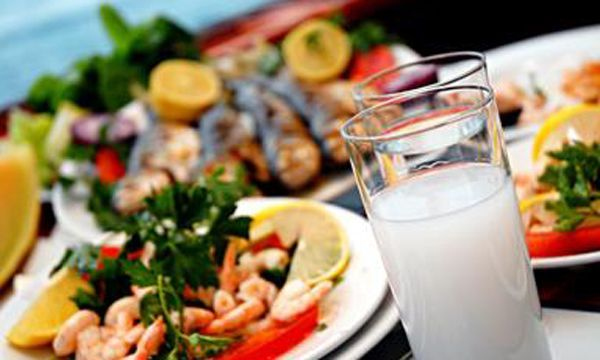 typical dinner table of Istanbul.. delicious meze plates and ice cold raki :))