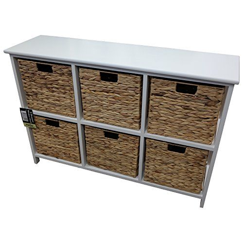 6 Drawer Wicker Merchant Chest With White Wooden Frame