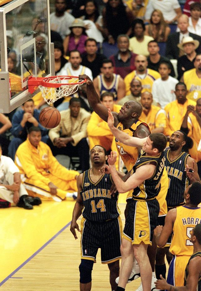June 7, 2000 - Shaquille O'Neal scores 43 points against the Indiana Pacers in Game 1 of NBA Finals 2000, using a variety of dunks, spin moves and jump hooks. In doing so, he continued a trend established at the start of NBA Playoffs 2000.   O'Neal's domination in Game 1 nearly landed him in the NBA Finals record book. He finished the night with 21 field goals, one shy of the NBA Finals mark of 22, co-held by Elgin Baylor and Rick Barry.