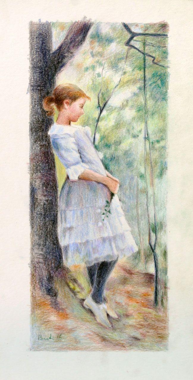 """Bambina nel bosco (da """"A girl in the lush forest"""" di Amelie Lundahl) - Matite colorate su cartoncino 19x43cm (2016)"""