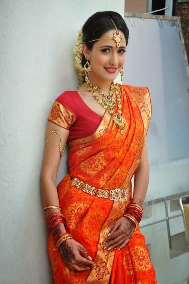 Red, orange, gold traditional Indian saree | Wedding Style Inspiration by Marigold Paper