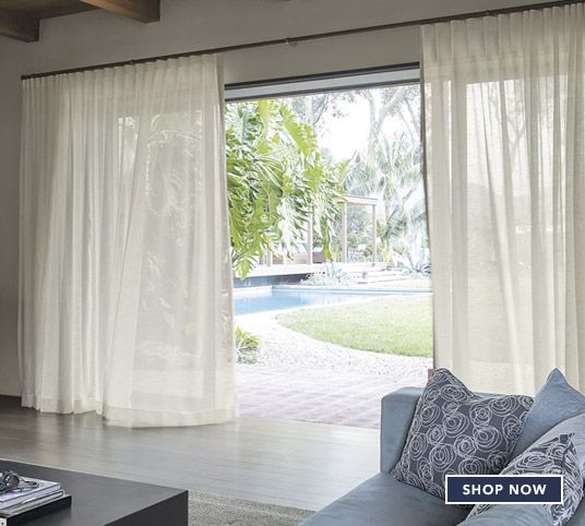 Smith and Noble's wave fold drapery system for sliding glass doors.