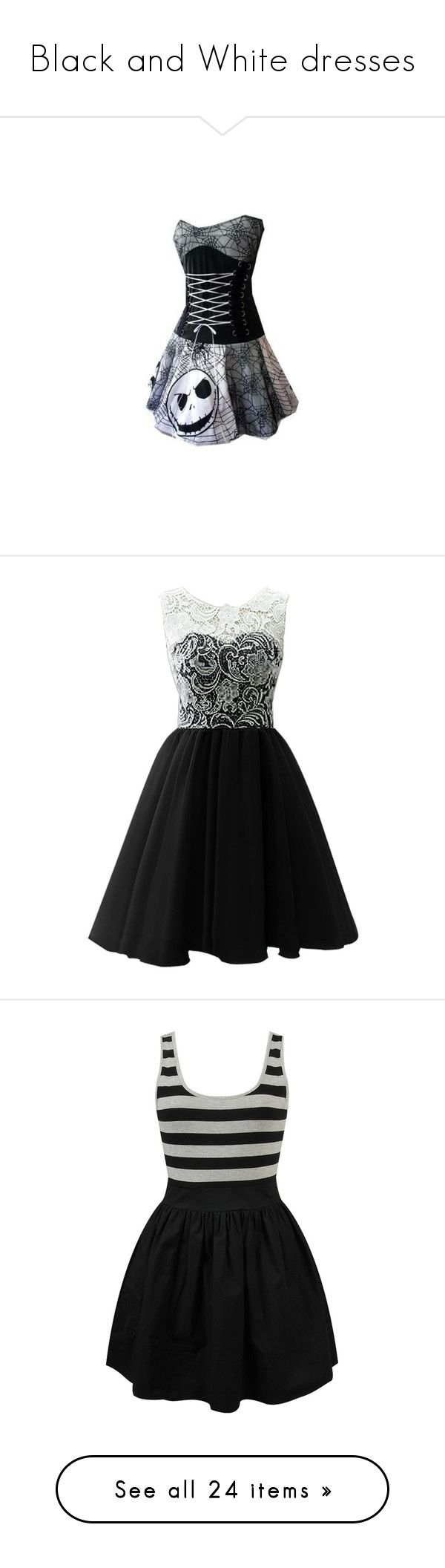 """Black and White dresses"" by greene1250 ❤ liked on Polyvore featuring dresses, vestidos, short dresses, black, lace cocktail dress, bridesmaid dresses, short homecoming dresses, prom dresses, casual and nautical striped dress"