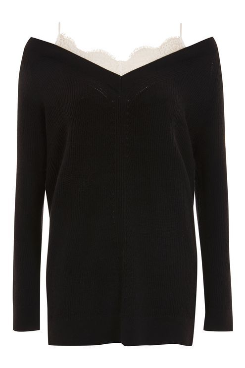 Lace Camisole Detail Jumper - Jumpers & Cardigans - Clothing - Topshop
