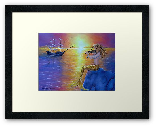Framed, art print, mermaid,sitting,painting,rocky,fantasy,scene,seascape,sunset,violin,fiddle,playing,music,marine,nautical,sailboat,ship,nude,feminine,aquatic,life,creature,atmospheric,tail,fins,sunlight,mythological,magical,big,fish,vivid,colorful,purple,mesmerizing,beautiful,cool,contemporary,realistic,figurative,fine,wall,art,images,home,office,decor,artwork,modern,items,ideas,for sale,redbubble
