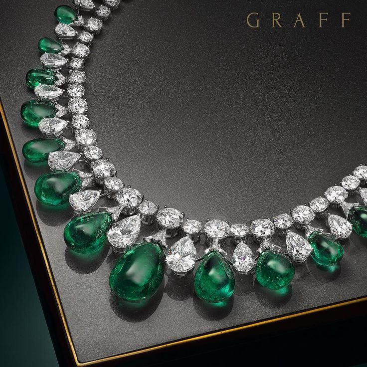 True Perfection On display at Graff's Monaco Rare Jewels Exhibition at the Salle Empire, Hotel de Paris, this extraordinary cabochon drop necklace incorporates 199 carats of magnificent emeralds, perfectly colour matched to create an incredible three dimensional design. Over 100 carats of the finest diamonds complement the vibrancy of the gems and create a scintillatingly stunning effect. #GraffDiamonds #RareJewelsExhibition #Emerald #Cabochon