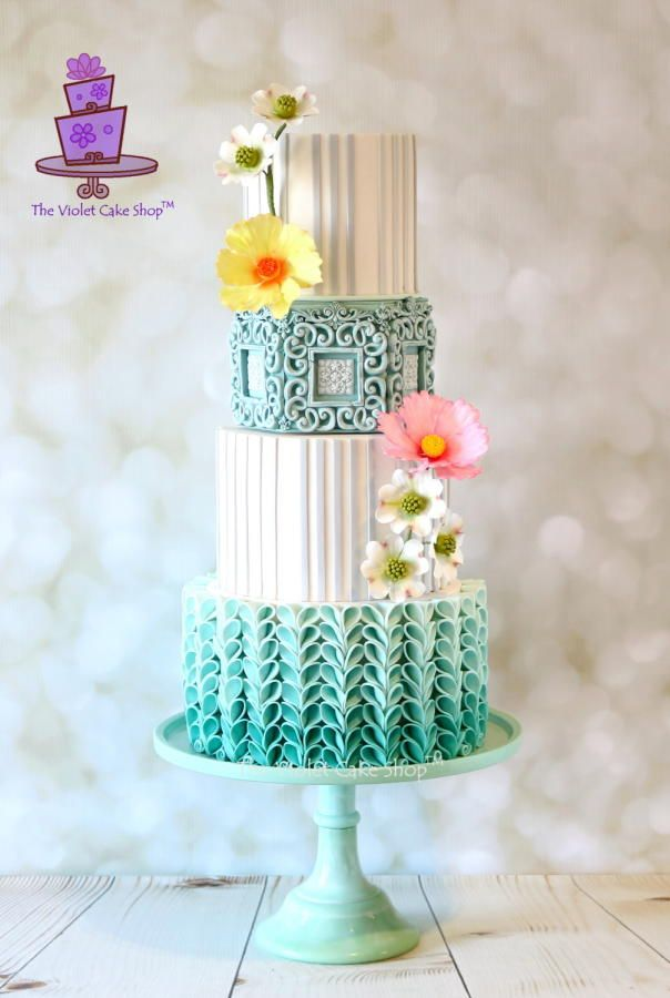 BLUE OMBRÉ with V-Petal Ruffles - Cake by Violet - The Violet Cake Shop™
