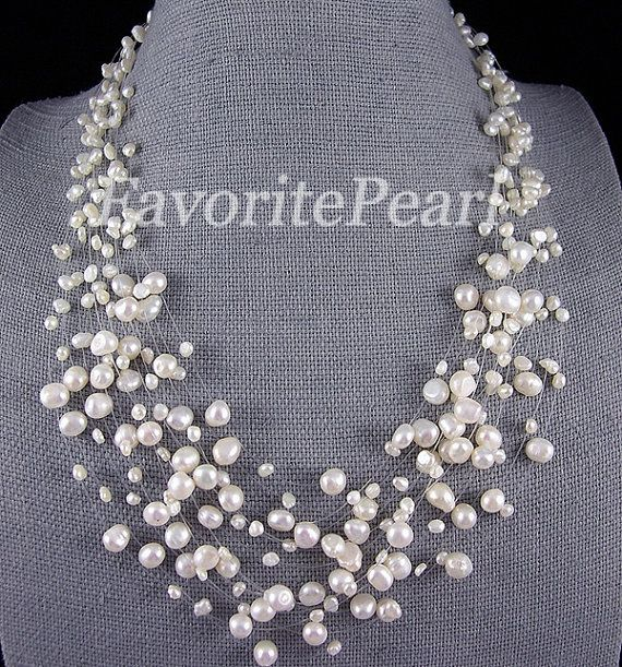 Pearl Necklace 15 Strand 18225 Inches 45mm by FavoriteJewellery, $19.50