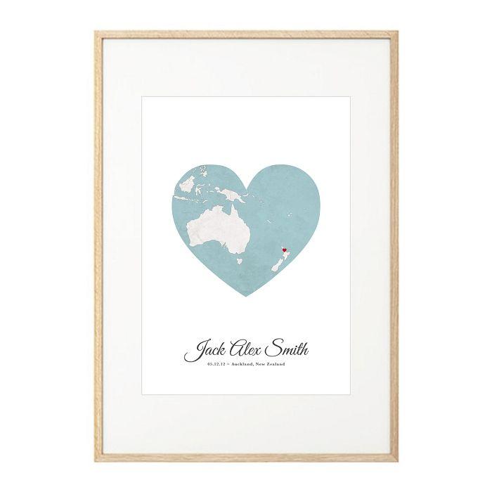 custom birth print world map