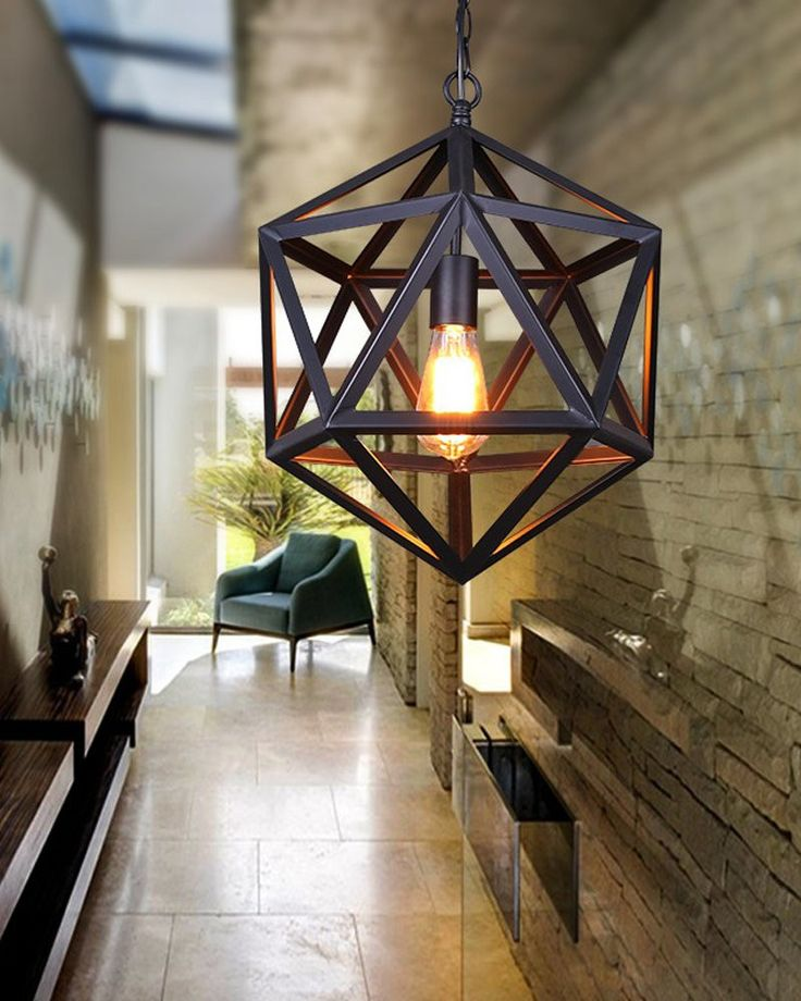 Light up your room and your life with this Industrial Style Matte Black Iron Cage Pendant Light.