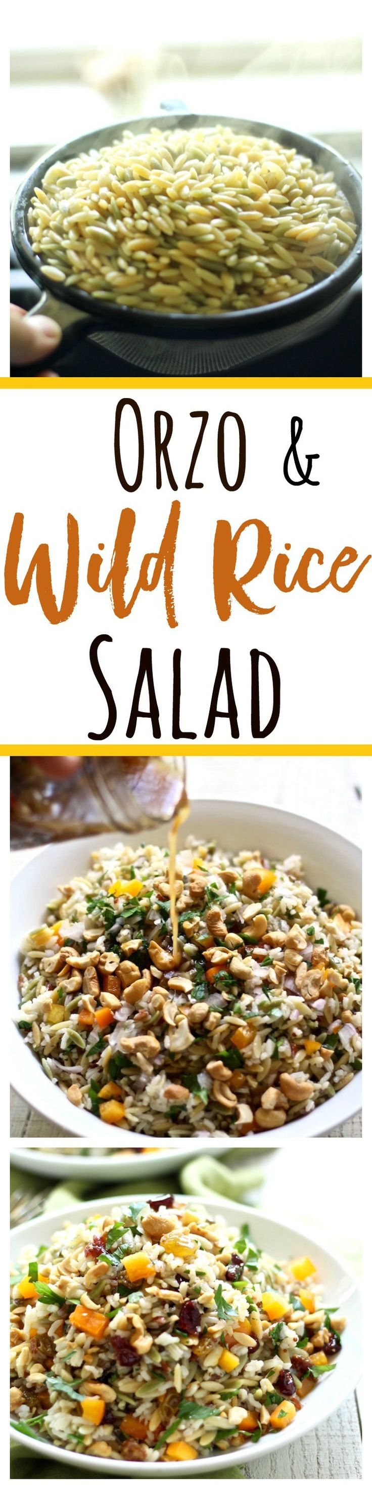 Orzo and wild rice salad is the perfect summer or winter dish. It can be served cold or warm, and be made a day in advance. It's SO scrumptious!