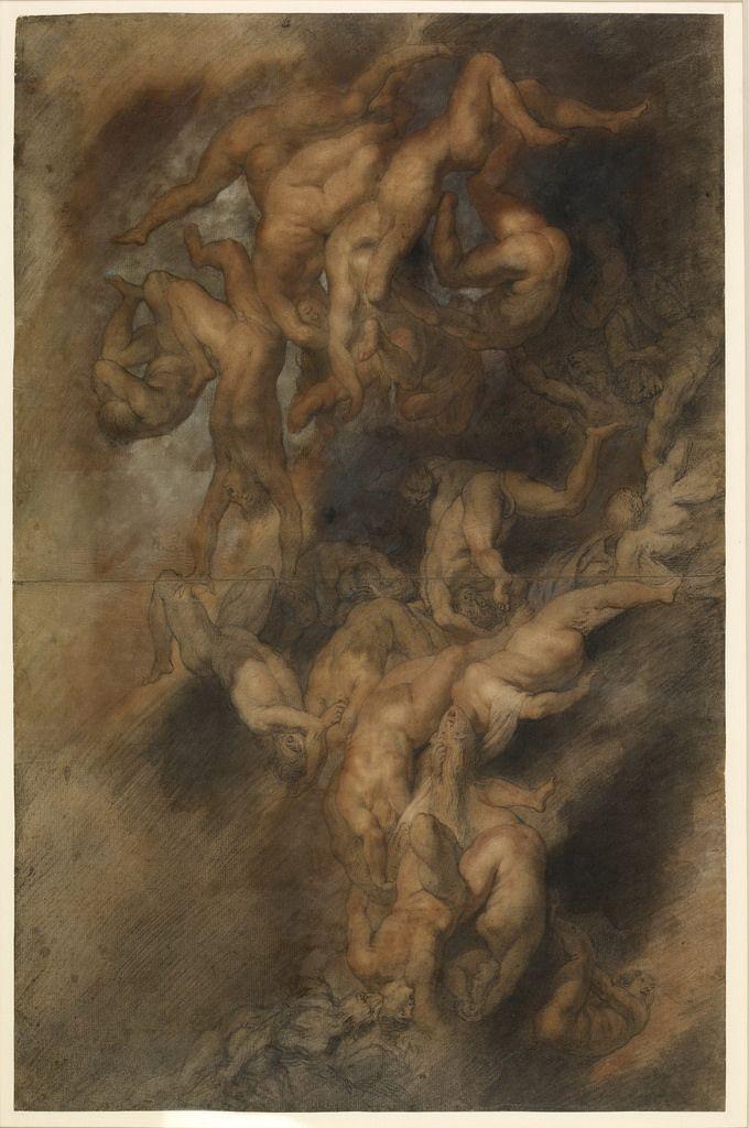 Падение проклятых (1614-1625) (748 х 476) (Лондон, Британский музей) (чёрный и красный мел и др.).  Peter Paul Rubens