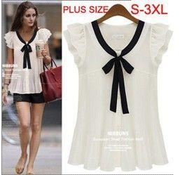 Nova 2014 S-3XL moda verão camisas plus size camisa chiffon de manga curta blusa # D6120