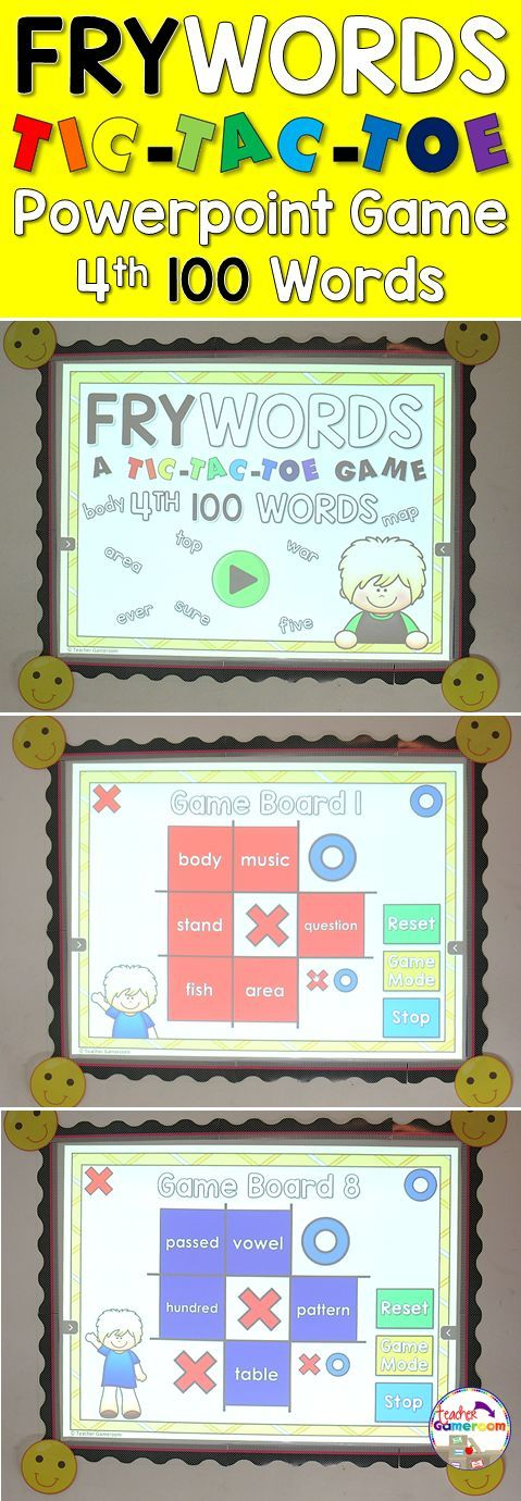 """In this tic-tac-toe powerpoint game, students read the 4th 100 fry word and place their """"X"""" or """"O"""". There are 12 game boards, each with 9 fry words from the 4th 100 fry words set. Great for Kindergarten, 1st, and 2nd grade. Common Core aligned!"""