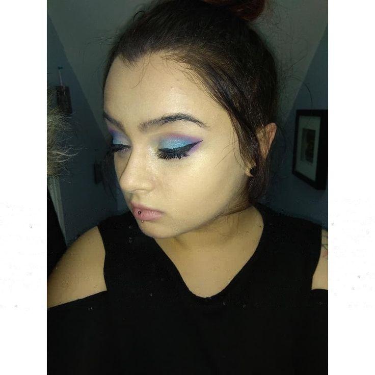 Make up done by me #MermaidsVsUnicorns #Revulutioneyeshadowpallette #Contour #WingedEyeliner #Blue #Purple  #ShimmerBlue  #InnerEyeShimmer #Highlighter  #NudeLipstick  #Makeup 💄💄💄💄💄