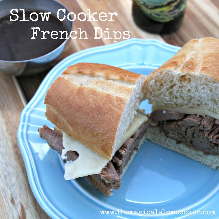 Slow Cooker French Dips, easy night before prep, a family favorite! http://themagicalslowcooker.com/2013/04/28/slow-cooker-french-dips/