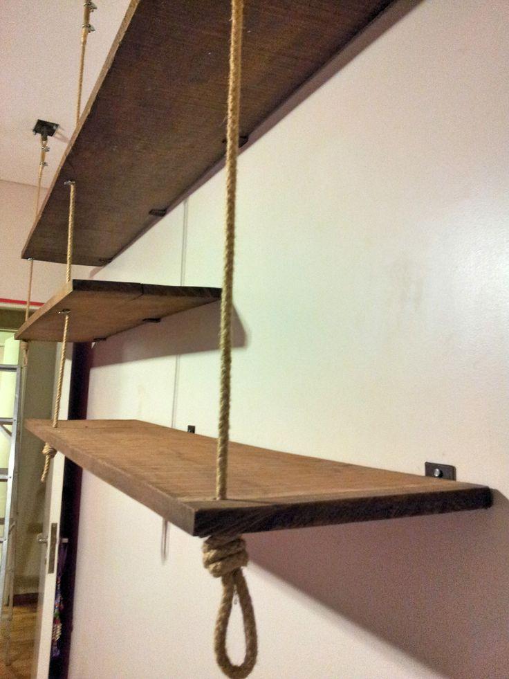 Estantes colgantes rusticos muebles pinterest ideas - Estantes para pared ...