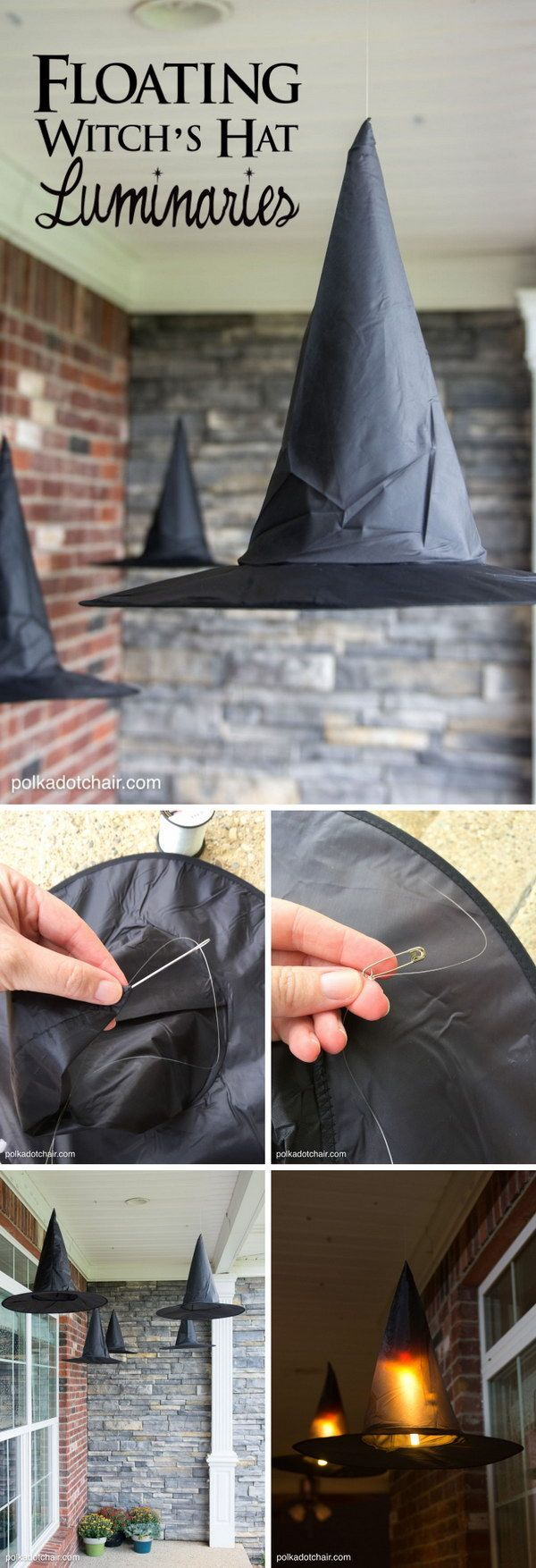 Clever decorating idea for a porch for Halloween, floating Witch's hat