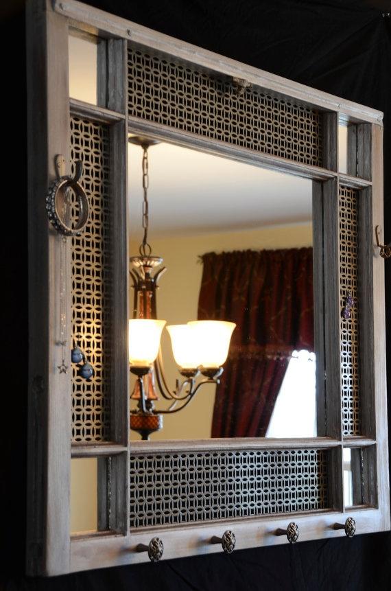 Handmade, one of a kind window frame jewelry organizer and mirror.